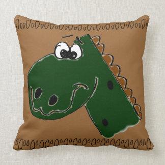 Derby the Dinosaur (brown) Throw Pillows