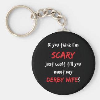 Derby Wife Basic Round Button Keychain