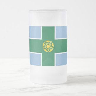 Derbyshire Flag Frosted Glass Beer Mug