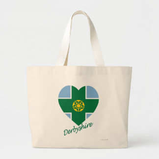 Derbyshire Flag Heart with Name Bag