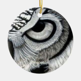 Derecho 2 del ojo del búho de 2 adorno navideño redondo de cerámica