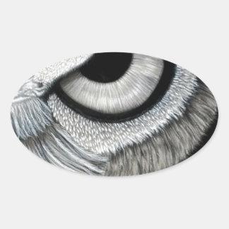Derecho 2 del ojo del búho de 2 pegatina ovalada