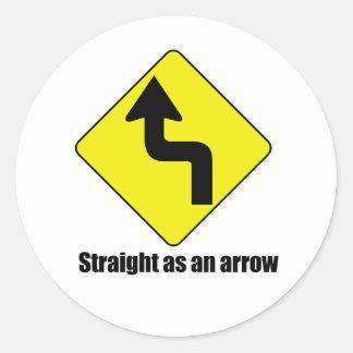 Derecho como flecha pegatina redonda