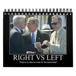 Derecho contra izquierda calendario