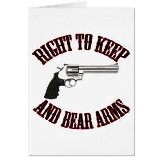 Derecho guardar y llevar el revólver de los brazos tarjeta de felicitación