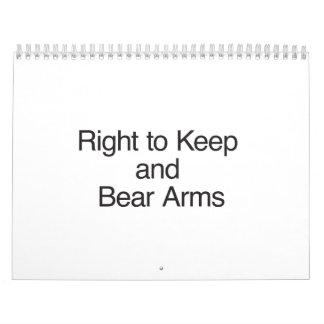 Derecho guardar y llevar los brazos calendarios