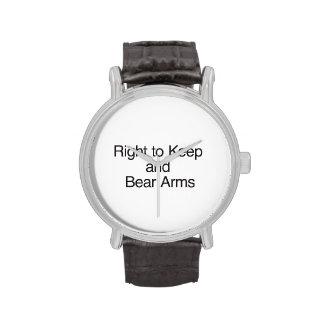 Derecho guardar y llevar los brazos relojes de pulsera