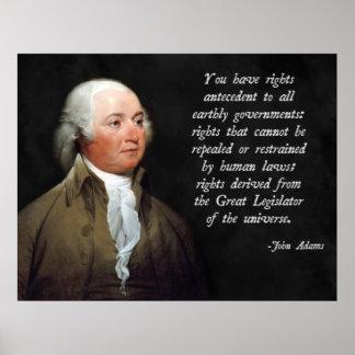 Derecho natural de John Adams Póster