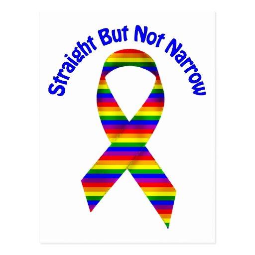 Derecho pero no camisetas del orgullo gay del estr tarjetas postales