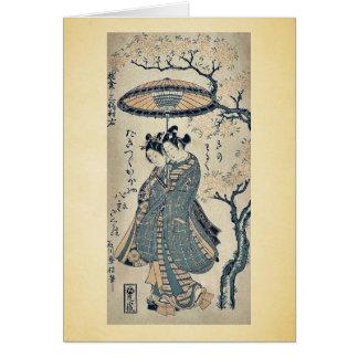 Derecho por Ishikawa, Toyonobu Ukiyoe Tarjeta De Felicitación