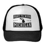 Derecho trabajar Michigan Gorra