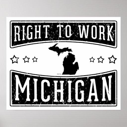 Derecho trabajar Michigan Impresiones