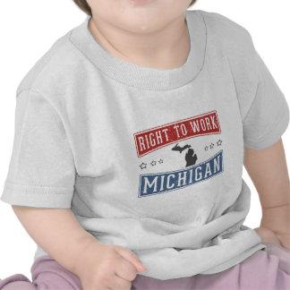 Derecho trabajar Michigan Camisetas