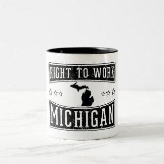 Derecho trabajar Michigan Taza De Café De Dos Colores