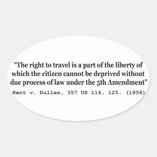 Derecho viajar Kent v Dulles los 357 E.E.U.U. 116 Pegatina Ovalada