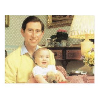 Derechos del vintage, príncipe Charles y Guillermo Postal