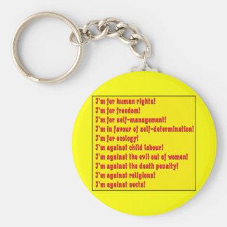 Derechos humanos llavero redondo tipo pin