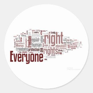 Derechos humanos etiqueta redonda