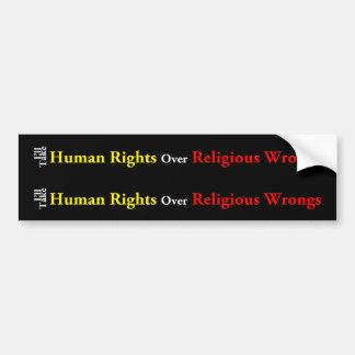 Derechos humanos sobre males religiosos pegatina para auto