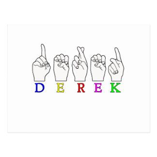 DEREK FINGERSPELLED NAME ASL SIGN POSTCARD