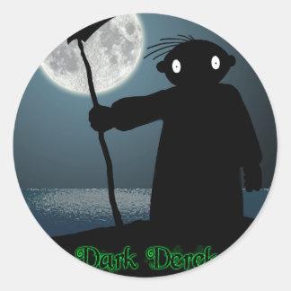 Derek oscuro - guadaña pegatina redonda