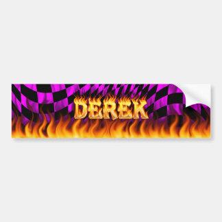 Derek real fire and flames bumper sticker design.