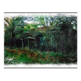 Derelict Barn and Brush Watercolor Postcard