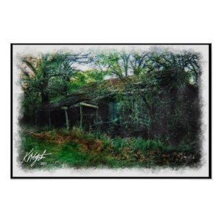 Derelict Barn and Brush Watercolor Poster