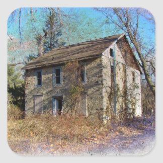 Derelict Farmhouse on Upper Ridge Road Square Sticker