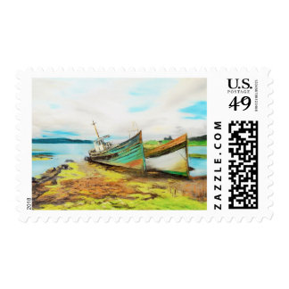 Derelict Fishing Boats Postage Stamp