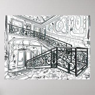 Derelict Stairwell I Poster