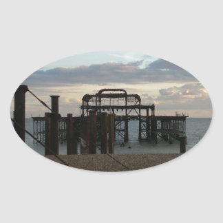 Derelict West Pier Brighton England Oval Sticker