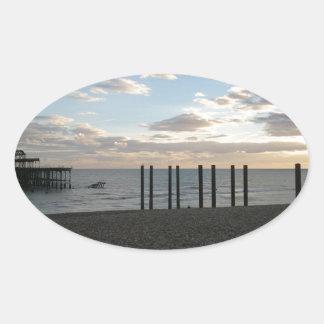 Derelict West Pier Brighton Oval Sticker