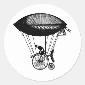 Derigicyclist de Steampunk Pegatina Redonda