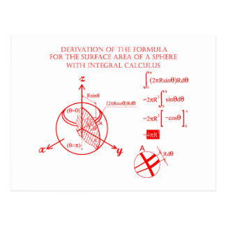 Derivation of the formula for surface of sphere postcard