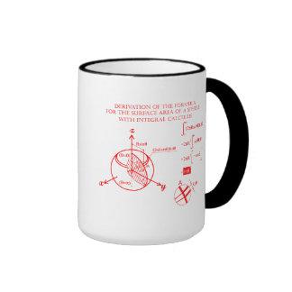 Derivation of the formula for surface of sphere ringer mug