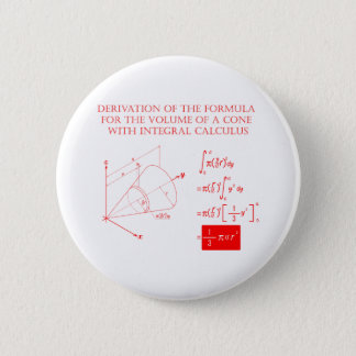 Derivation of the formula for the volume of a cone pinback button