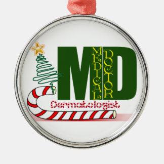 Dermatologist MERRY CHRISTMAS Round Metal Christmas Ornament