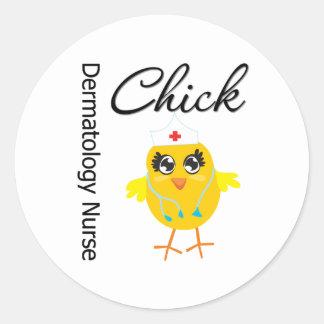 Dermatology Nurse Chick v1 Classic Round Sticker