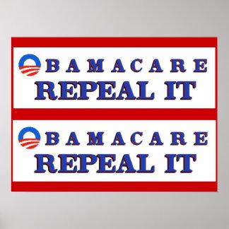 Derogación de Obamacare él poster Póster