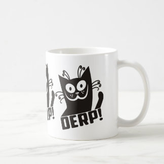Derp Cat derpy smiling waving black cat Coffee Mug