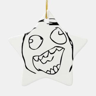 Derp feliz - meme adorno de cerámica en forma de estrella