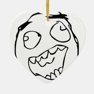 Derp feliz - meme adorno de cerámica en forma de corazón