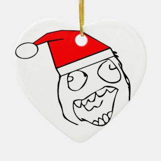 Derp feliz santa - meme adorno de cerámica en forma de corazón