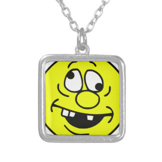 Derp Smiley Face Silver Plated Necklace