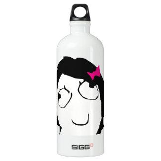 Derpina - black hair, pink ribbon aluminum water bottle