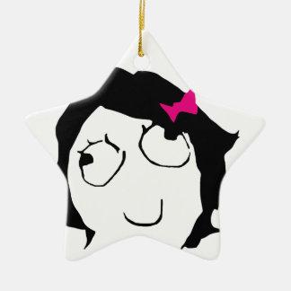 Derpina - black hair, pink ribbon ceramic ornament