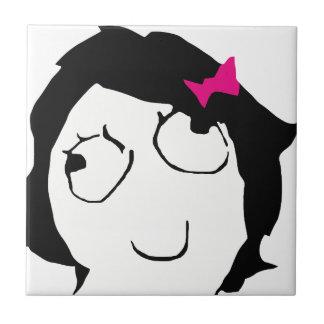Derpina - black hair, pink ribbon ceramic tile
