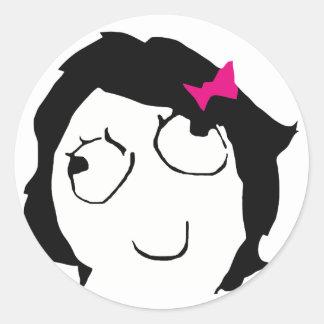 Derpina - black hair, pink ribbon classic round sticker