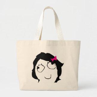 Derpina - black hair, pink ribbon large tote bag